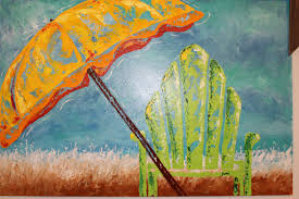Beach Umbrella And Chair Framed Abstract Green Beach Chair And Umbrella Painting