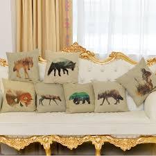 design kissenbez ge landschaft tier design stil leinen kissenbezug hund kaninchen elch