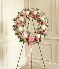 funeral wreaths pink white flower standing wreath at from you flowers