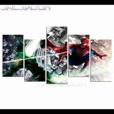 compare prices on spiderman canvas art online shopping buy low 5 piece canvas art child room decor nordic modular pictures spiderman print painting modern frame home