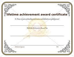 lifetime achievement award certificate template certificate template