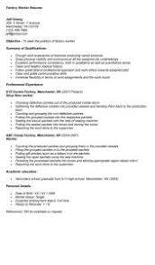Resume For Factory Worker Resume Factory Worker Sales Worker Lewesmr