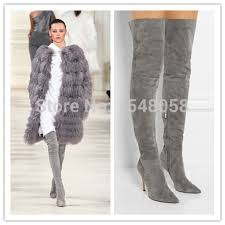womens gray boots on sale 2015 sale knee boots grey suede gladiator thigh