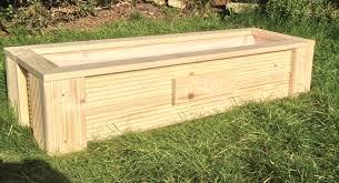 wooden decking natural herb garden planter window box trough with