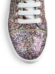 christian louboutin bip bip glitter high top sneakers in pink lyst