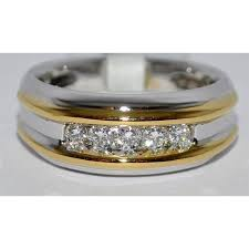 mens wedding band with diamonds wedding band diamond ring 0 25ct 14k two tone white gold yellow
