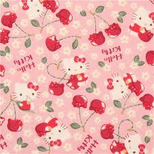 pink kitty cherry cute flower fabric kitty fabric