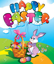 Easter Egg Quotes Easter Bunny With A Wicker Basket Place For Your Text Happy