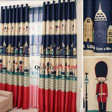 Kid Blackout Curtains Retro British Style Poly Cotton Blackout Curtain Of Kids Curtain