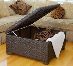 wicker storage ottoman coffee table patio cushions seat indoor