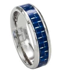 stainless steel men s wedding band promise ring w blue carbon