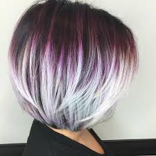 shag haircut brown hair with lavender grey streaks 40 layered bob styles modern haircuts with layers for any