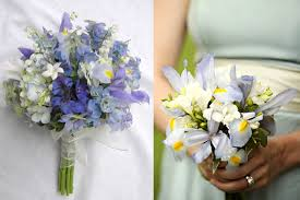 blue wedding bouquets purple iris bouquets elizabeth designs the wedding