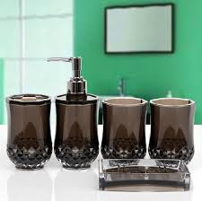 home decor free shipping bathroom set acrylic five pieces set of bathroom accessories for