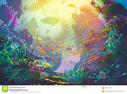underwater with coral reef and colorful fish stock illustration
