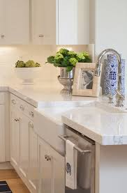 Farm Sink With Backsplash by White Quartzite Countertop Ideas Kitchen With Thick White