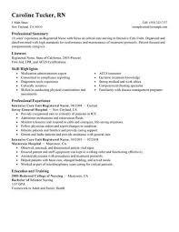 ex of nurse resume skills summary list best intensive care unit registered nurse resume exle livecareer