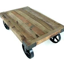 side table on casters coffee table wheels large industrial wooden iron coffee table with