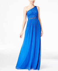 adrianna papell embellished lace one shoulder gown dresses