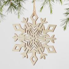 laser cut wood snowflake ornaments set of 4 world market