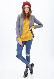 forever 21 cable knit fisherman sweater in yellow lyst
