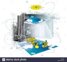 atrium house build solar energy environmentally friendly stock