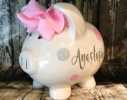 personalized silver piggy bank piggy banks etsy