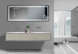 Bathroom Mirror With Clock Led Vanity Mirror With Surface Touch Switch Blue Digital Clock