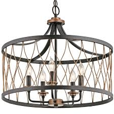 Cottage Pendant Lighting Shop Kichler Brookglen 20 47 In Black With Gold Tone Country