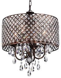 Crystal Drum Shade Chandelier Unique Drum Chandelier With Crystals Shop Houzz Edvivi Llc 4 Light