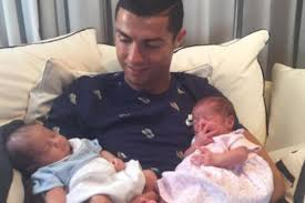cristiano ronaldo posts first photo of his baby twins after