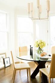 Colored Leather Dining Chairs Round Glass Top Dining Table With Butter Yellow Leather Dining
