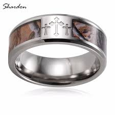 camo mens wedding band shardon three cross camo men rings 8mm titanium mossy oak band