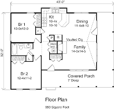 Country Farmhouse Floor Plans by Country Style House Plan 2 Beds 1 00 Baths 990 Sq Ft Plan 22 123