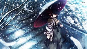 snow tree kimono alone sad anime wallpaper 1920x1080