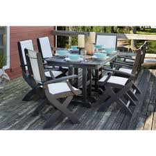 Coastal Dining Room Sets Polywood Coastal Black 7 Piece Patio Dining Set With White Slings