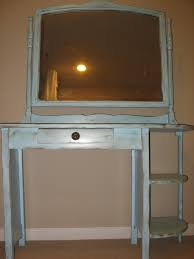 Vanity Dresser Single White Wooden Vanity Dresser With Main And Side Drawers And