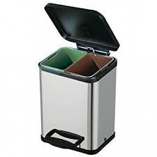 poubelle cuisine tri poubelle tri sélectif 2 bacs inox amazon fr cuisine maison