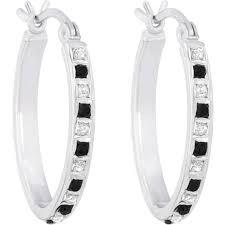 black diamond hoop earrings diamond fascination platinum sterling silver black and white