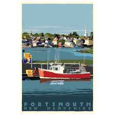 New Hampshire Travel Port images Portsmouth lobster boat art print 36 quot x 53 quot travel poster new jpg