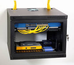 cabinet for router and modem networking cabinet rack that holds computer router and wires