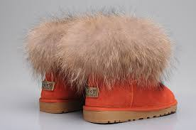 womens ugg boots ellee style ugg 5854 fox fur boots mini boots orange