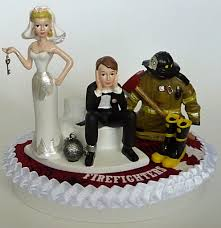 fireman cake topper wedding cake topper firefighter department fireman themed