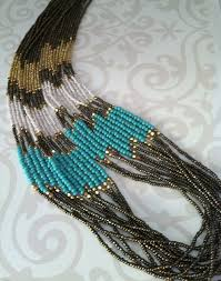 Handmade Seed Beaded Gold Plated Turquoise U0026 Grey Multistrand Beaded Necklace Gold Tone Seed Bead