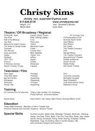 Musical Theater Resume Sample by Resume Template Qualifications Acting Examples For Beginners How
