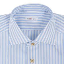 kiton white blue striped riva cotton dress shirt dress shirts