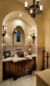 Mediterranean Wall Sconces Powder Room Lovely Tile Accent Nice Wall Sconces And Large Floor