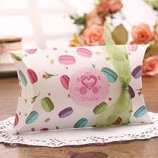 Wedding Candy Boxes Wholesale 100pcs Wholesale New Creative Macaron Rectangular Pillow Shaped
