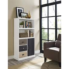 South Shore White Bookcase by Ameriwood Home Mercer Storage Bookcase With Multicolored Door And