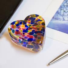 Rainbow Home Decor by Heart Paperweight Blown Art Glass Home Office Decor Rainbow Blue